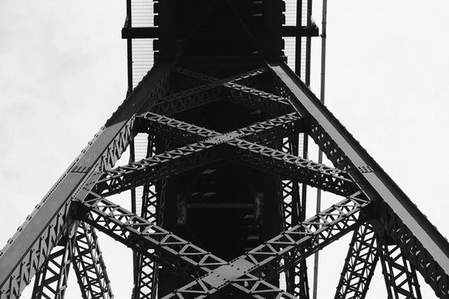 black and white sky construction bridge